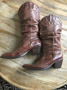 d77439baf7c Image is loading Steve-Madden-Western-Cowgirl-Boots-Brown-Distressed-Soft-
