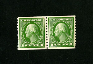 US-Stamps-443-VF-OG-NH-Pair-1-Nibbled-Perf-Scott-Value-160-00