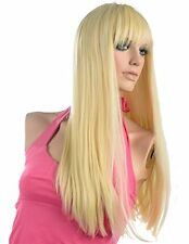 Bleach Blonde Wig Long Straight With Bangs Synthetic Fiber Wigs Cosplay Wig+Cap