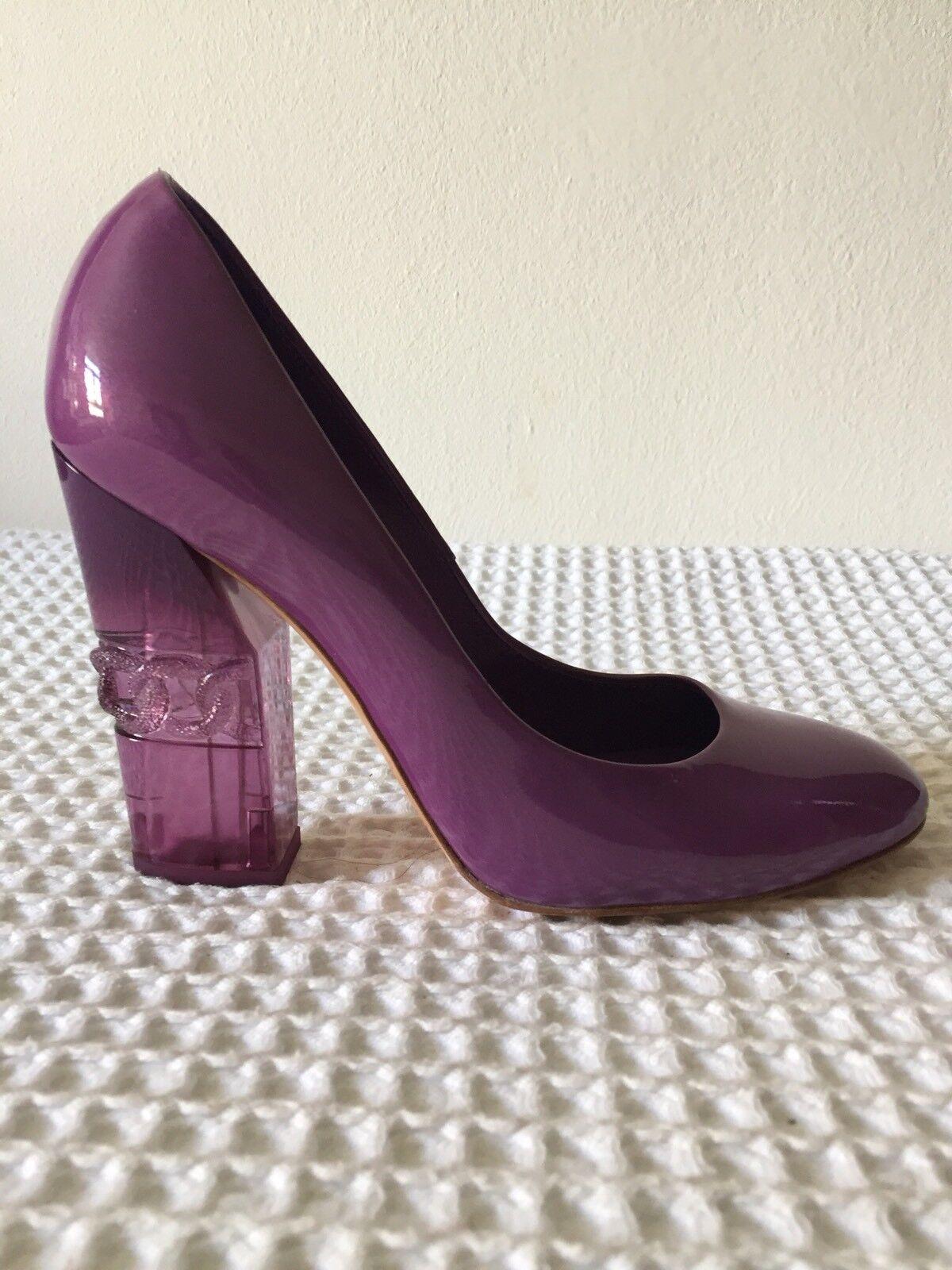 CASADEI PURPLE PATENT LEATHER Unique heel detailing  SZ US 6.5 UK 3.5 EU 36.5