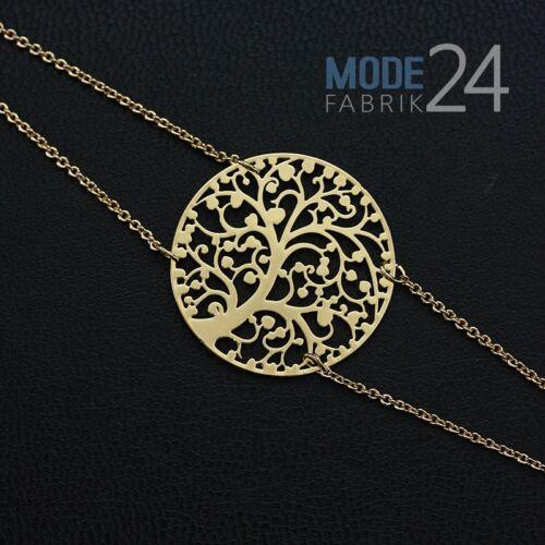 Damen Armband Gold Silber vergoldet Blogger Statement Lebensbaum Schmuck