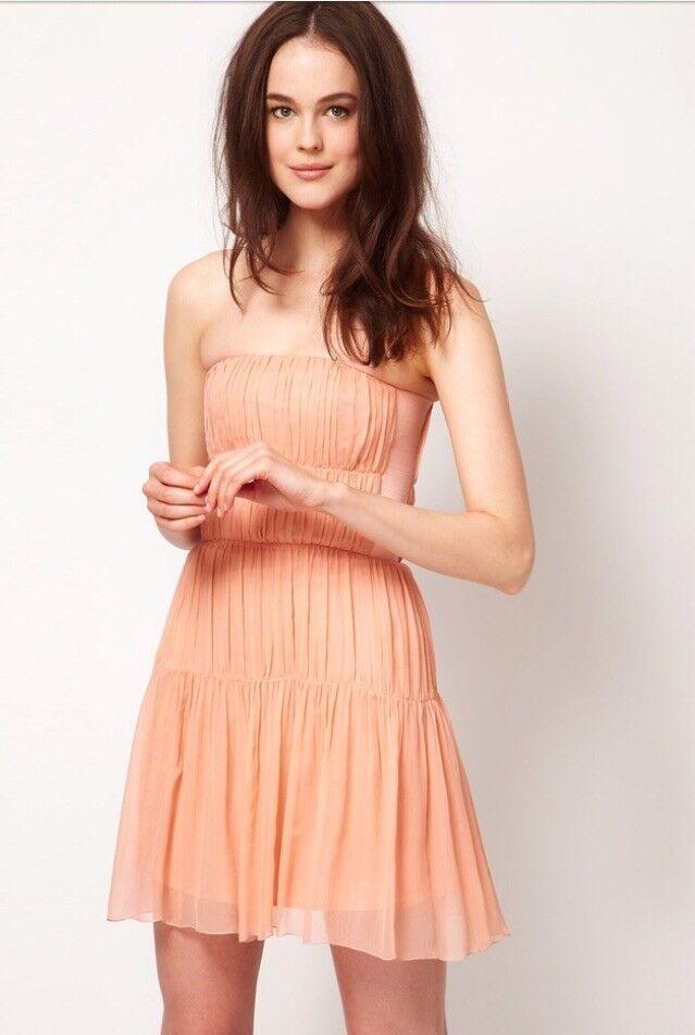 Kookai Pale Coral Pink Silk Dress Size 40