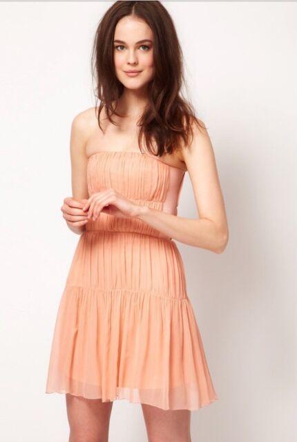 Kookai Pale Coral Silk Dress Size 40 UK 12 for sale online  f78a6651e