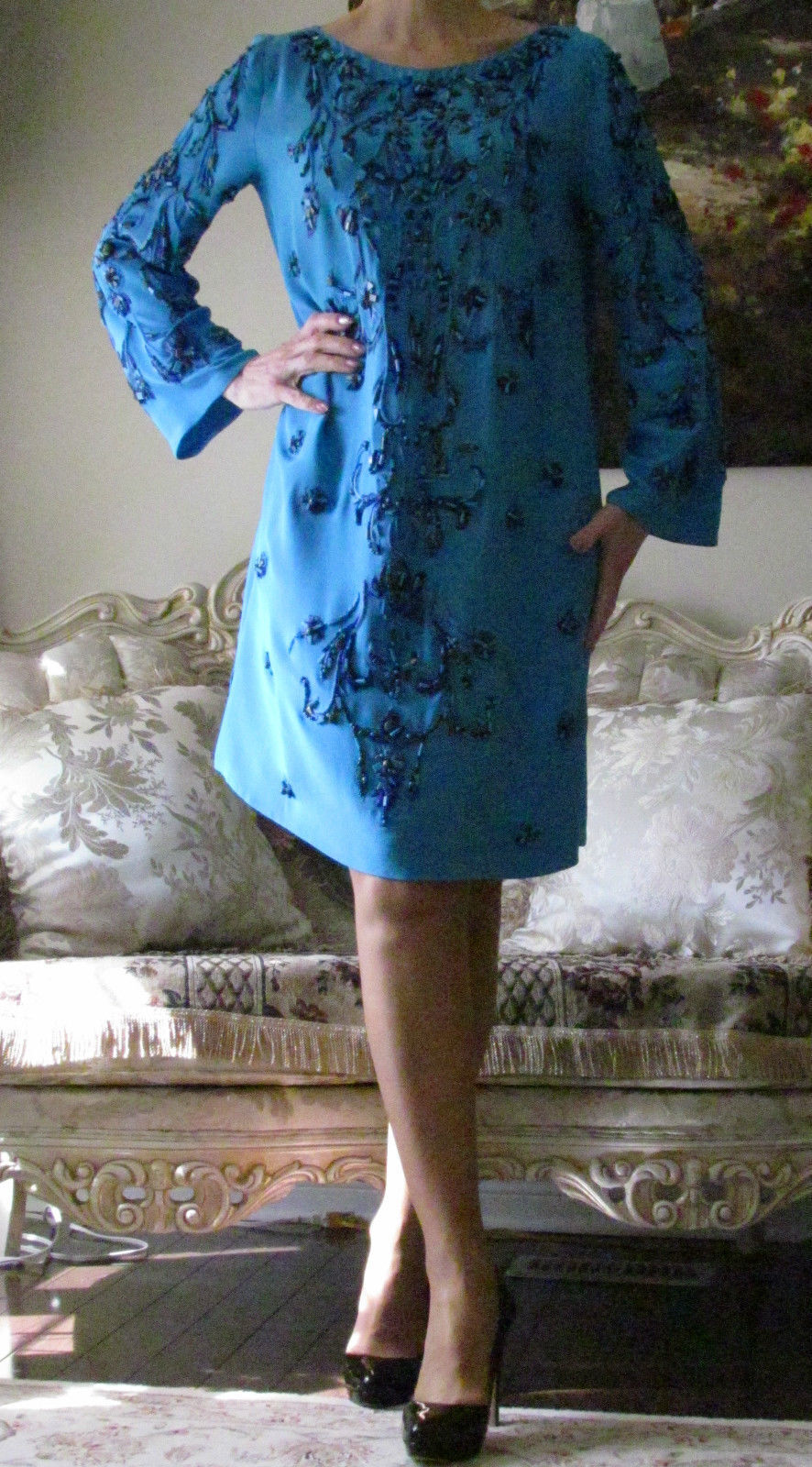 New EMILIO PUCCI Runway Silk Beaded Embroidered dress kaftan It 46,US 12-14,L-XL
