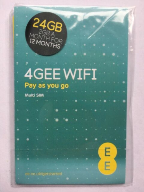 EE 4GEE Mobile 24GB (2GB A Month for 12 Months) WIFI Prepaid Data SIM Card