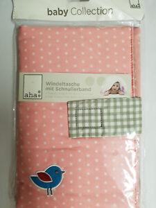 aha-Windeltasche-Nappy-BAG-Neu-baby-Collection-mit-Schnullerband-Girl-s-Pink