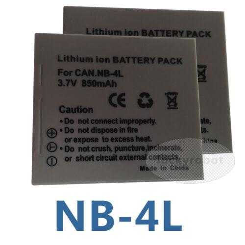 2x batería para Canon Nb4l Nb-4l Powershot Elph Sd450 100 Hs Sd 300 Sd330