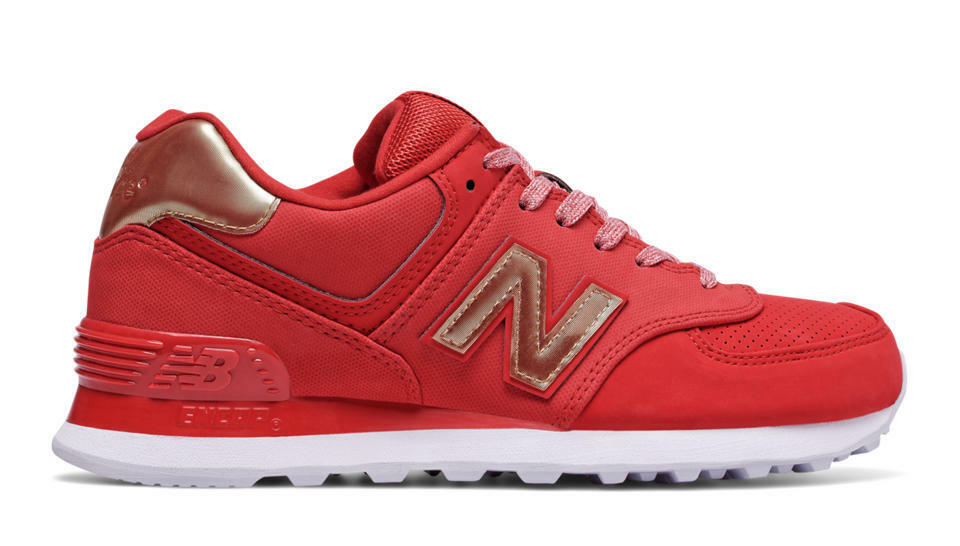 NEW BALANCE WOMEN VARSITY SPORT WL574VJA 574 RED GOLD Lifestyles Sneakers 5.5-10