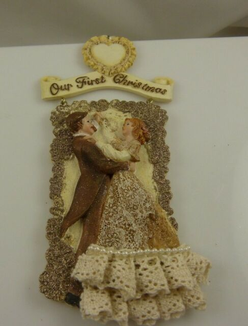 Our  First Christmas together xmas ornament Kurt S. Adler Victorian style couple