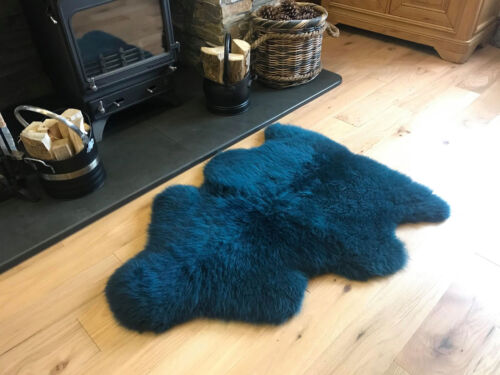 UK Made Soft Large Véritable Peau De Mouton Tapis masquer Pelt Bleu Sarcelle Turquoise