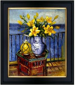 Framed Still Life with Vase of Lilies, Quality Hand Painted Oil Painting 20x24in