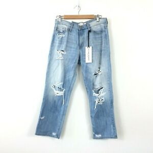 Flying-Monkey-Womens-Mom-Jeans-Size-29-Cropped-Capri-Distressed-Straight-Leg-NEW