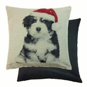 Mignon-Noel-Border-Collie-Pup-Chien-avec-Chapeau-Tapisserie-Redcushion-De-45-7cm