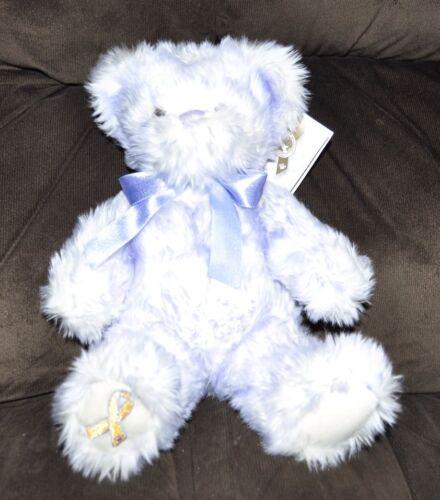Build a Bear /'NIKKI/'S LAVENDER TIP BEAR GIGGLES/' Gold Ribbon Child Cancer Plush