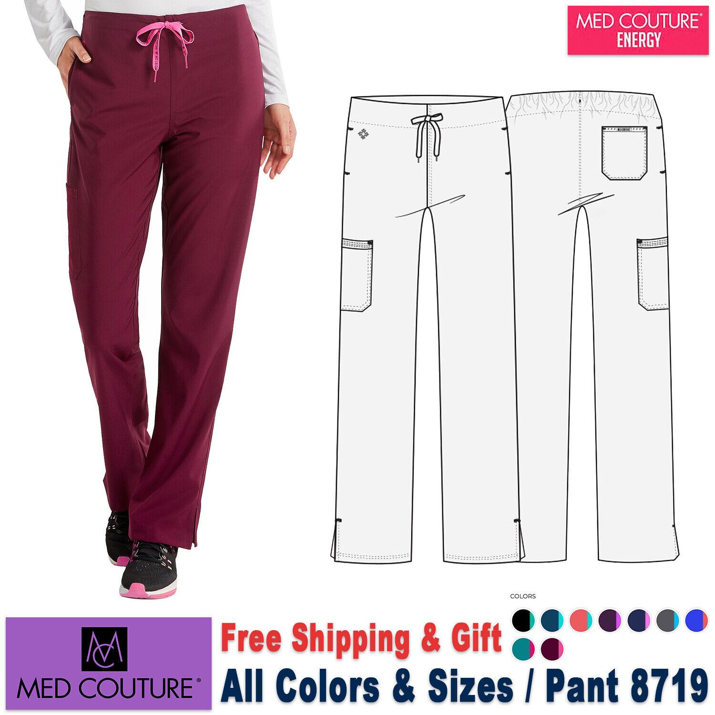 "Med Couture Energy Women/'s 8718 /""Grace/"" Drawstring//Back Elastic Scrub Pant-Wine"
