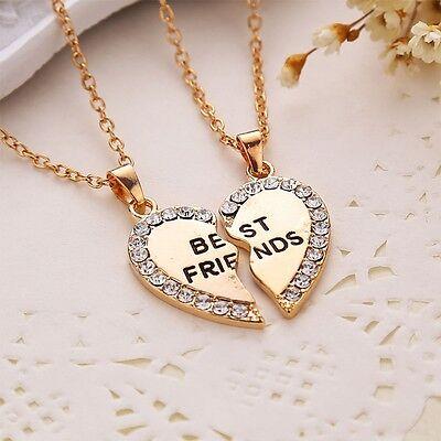 2pcs Crystal Half Love Heart Pendant Alloy Best Friends Necklace Friendship Gift