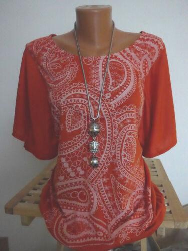 Sheego Early20 Tunika Shirt Gr NEU 40//42-44//46 Rost Orange mit Muster 015