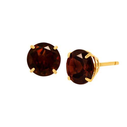 2 ct Natural Garnet Round-Cut Stud Earrings in 10K Gold