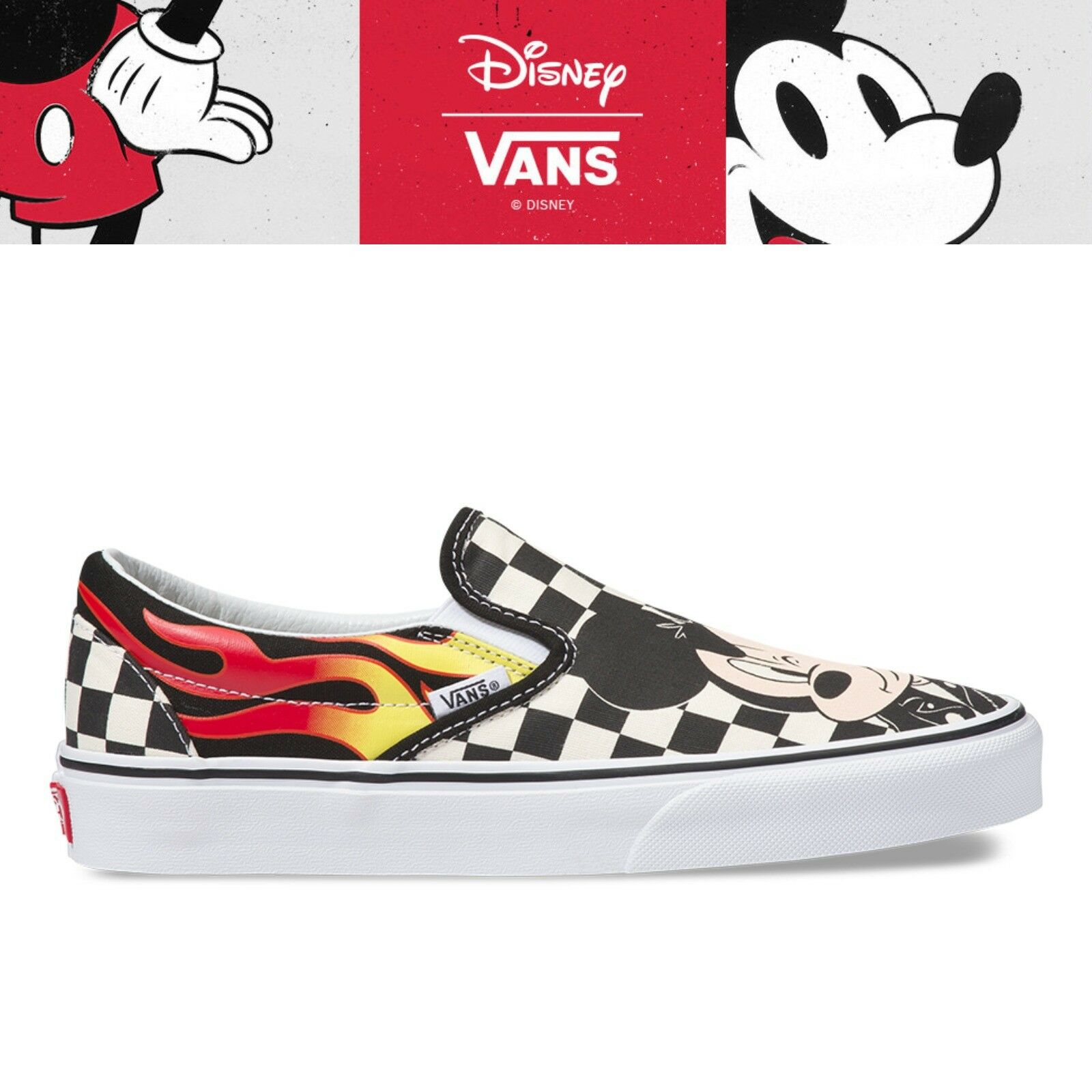 New VANS X DISNEY Slip-On Mickey Mouse 90th Collection Unisex Turnschuhe - Flame