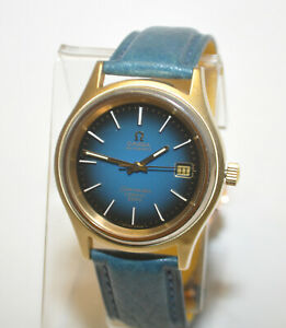 OMEGA-Seamaster-Cosmic-2000-Automatic-Gold-amp-SS-Case-Blue-Gradient-Dial-Watch