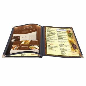 "30pcs 8.5x14"" Menu Cover 3 Page 6 View Restaurant Cafe Club Black Trim Fold Book"