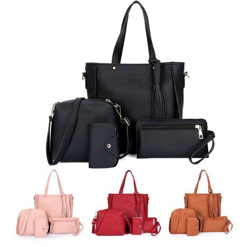 88fbd77f09b8 4pcs Women Leather Handbag Lady Shoulder Bags Tote Purse Messenger Satchel  Set