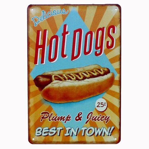 CAKE HOT DOGS HAMBURGERS Tin Sign Bar Pub Cafe Home Wall Decor Art Metal Poster