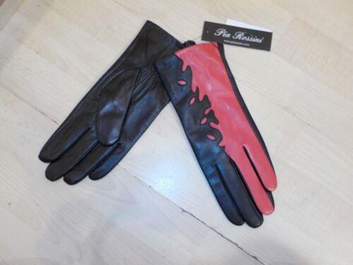 Pia Rossini Emerson Red//Black Leather gloves