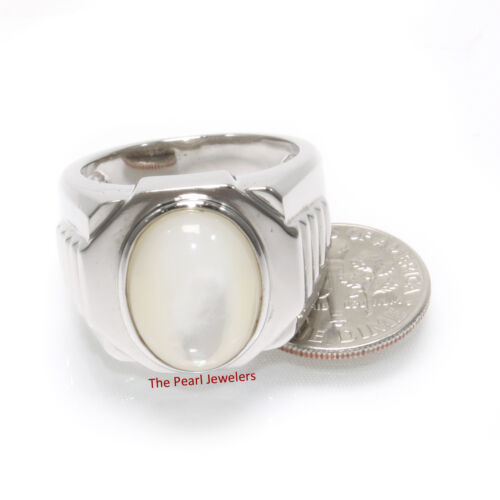 Solid 925 Sterling Silver Cabochon Mother of Pearl Men's Ring TPJ