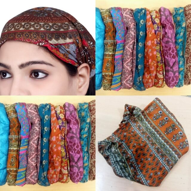4374ba56c34c 10 PCS Women Silk Headband Printed Wide Hairband Bandana Lot Men Wrap Band  Yoga