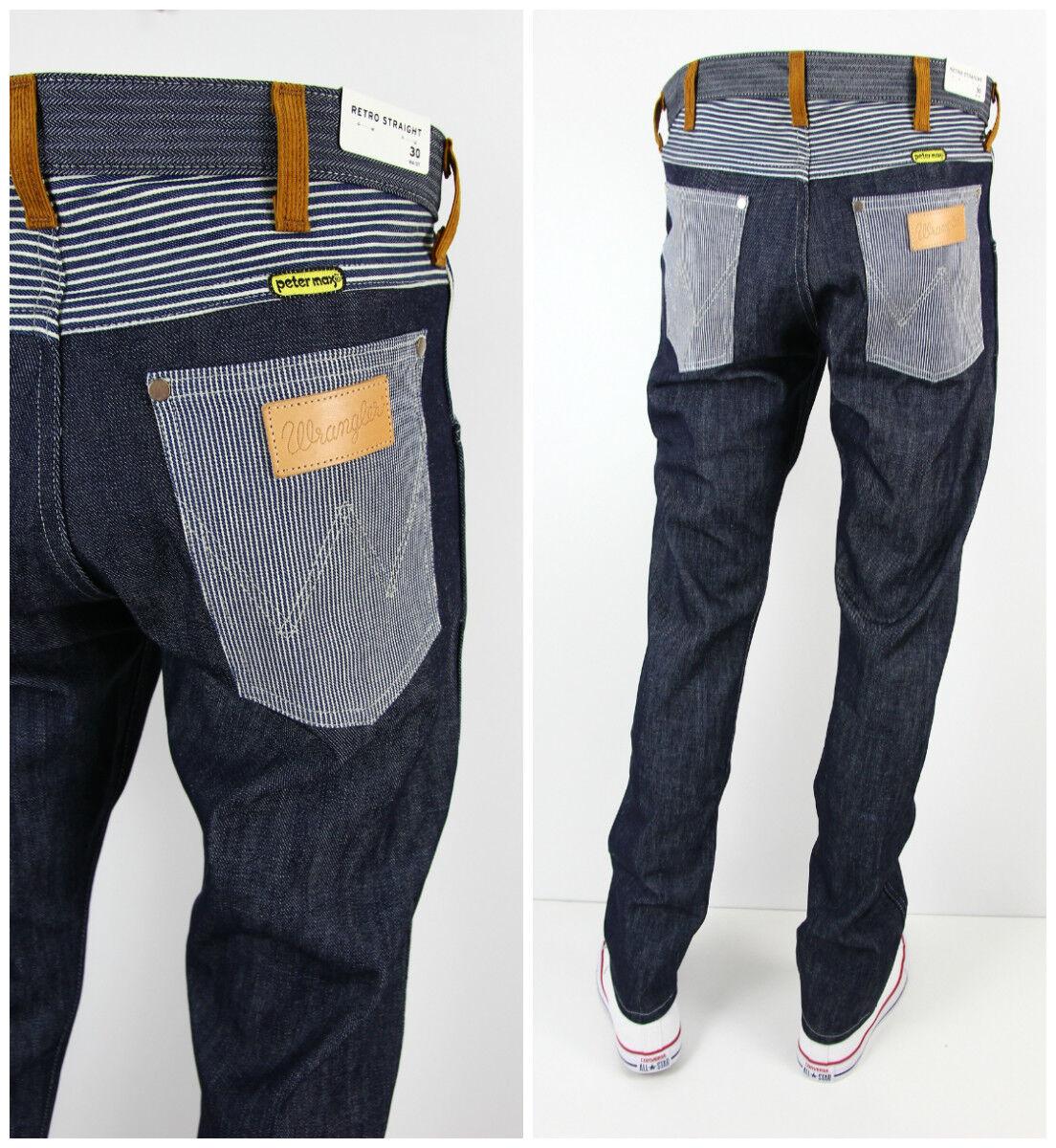 Nuovo Wrangler x Peter Max Rétro Cimossa Asciutto Raw Denim Jeans Dritto L32 L34