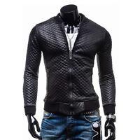 Designer Mens Slim Fit Motorcycle Jackets PU Leather Jacket Coat Outwear for Men