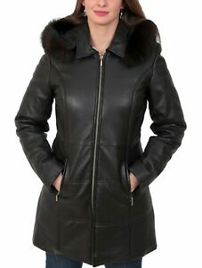 pretty nice reputable site to buy Details about Ladies Soft Leather Puffer Coat 3/4 Length Padded Fitted  Hooded Parka Lisa Black