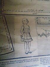 """PATRON ORIGINAL POUR LA POUPEE BLEUETTE """" LINGERIE JUPON BRODE  AVRIL 1916"""