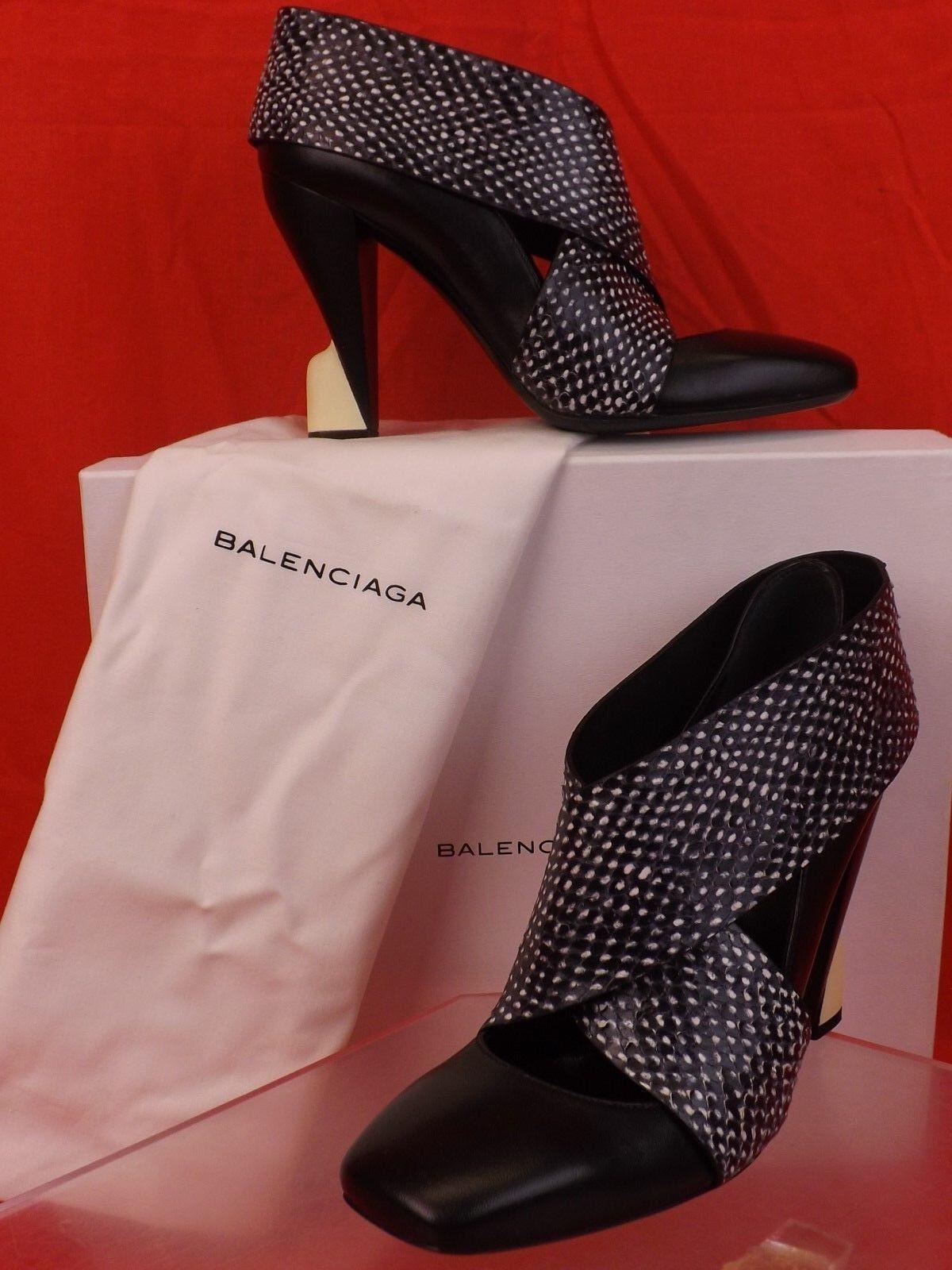Nouveau dans la boîte BALENCIAGA Noir Wrap SNAKE PRINT PRINT PRINT Cuir Sculpture talons pompes 37 292683 6d671b