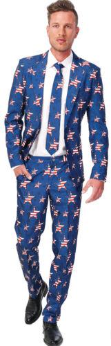 Men/'s USA Stars and Stripes America Costume Party Suit Fancy Dress Slimline 3 Pc