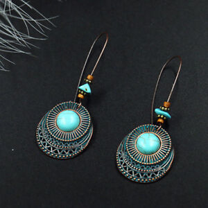 Women-Antique-925-Silver-Turquoise-Drop-Dangle-Hook-Earrings-Vintage-Jewelry