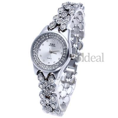Amazing Crystal Dial Gift Silver Women Girls Steel Bracelet Quartz Wrist Watch