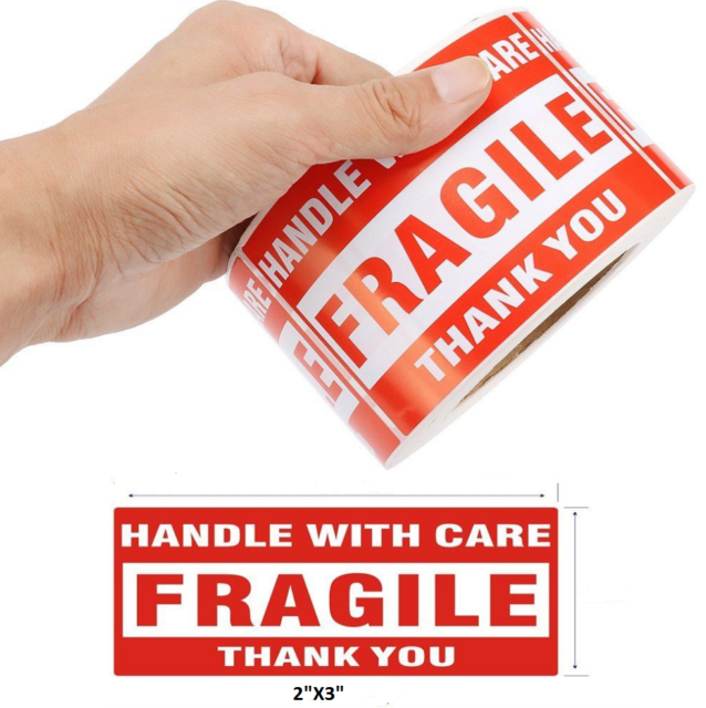 """500 3""""x5"""" fragile handle with care thank you mailing"""