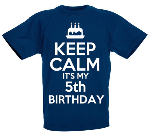 Keep Calm It/'s My 5th Birthday Gift T-Shirt For 5 Year Old Boys /& Girls