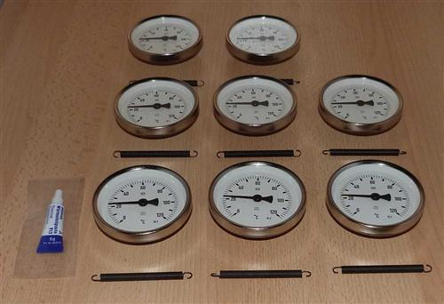 Anlegethermometer Set 8x Metallausführung Ø80mm -120°C + Wärmeleitpaste