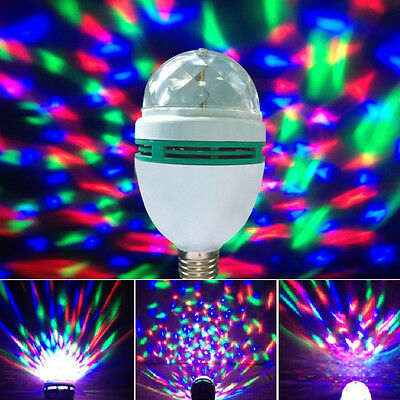 E27 Big Crystal Magic Ball Stage Effect Light Led Full Color RGB Rotating Lamps