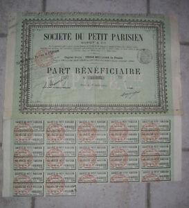 Le Petit Parisien - Action 1909 - France - Le Petit Parisien Action de 1909 - France