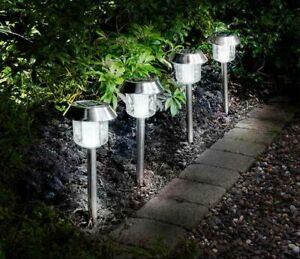 4-x-Solar-Powered-Stainless-Steel-LED-Garden-White-Light-Free-P-amp-P-to-EU-amp-UK