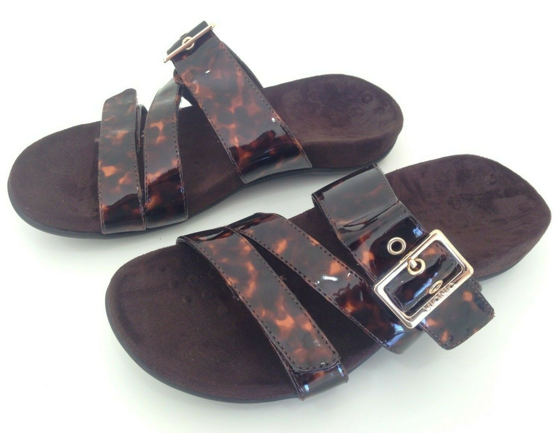 Vionic Slide Sandals Skylar Womens US 7.5 Adjustable Brown Patent shoes Flat
