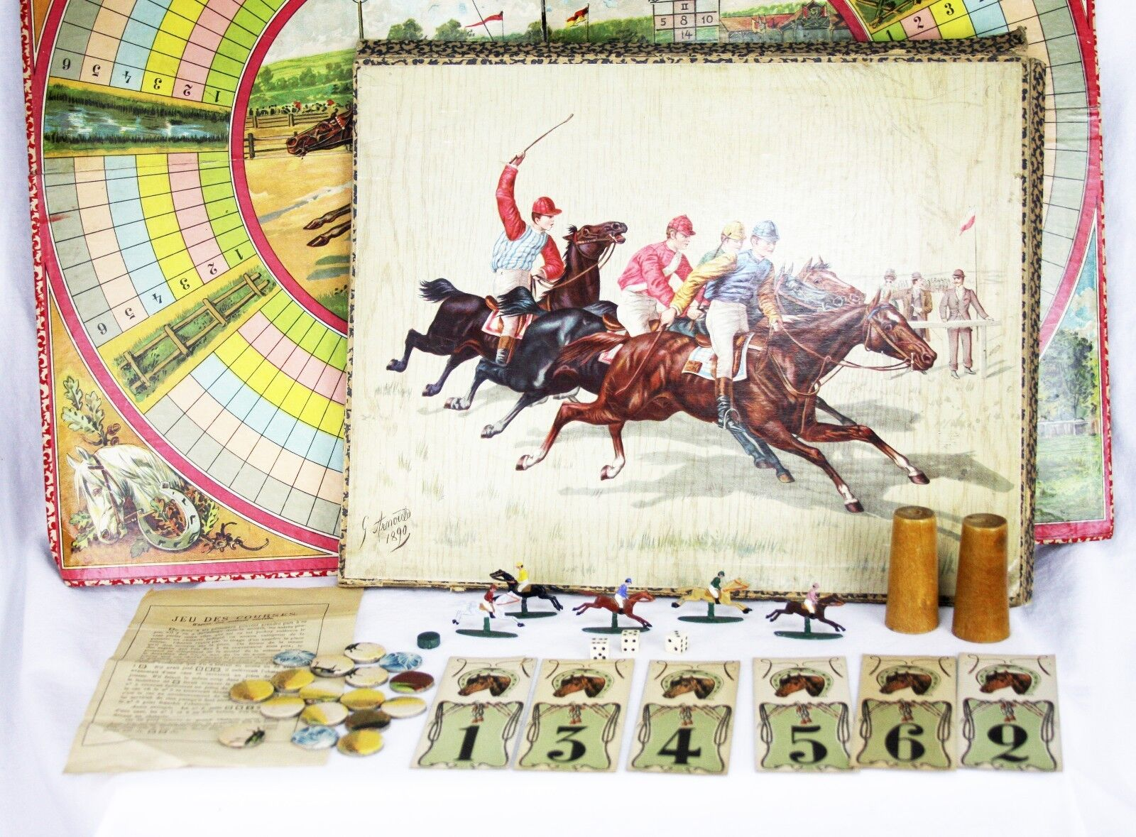 Antique French Horse Racing Steeplechase Board Board Board Game ca1890 73fa08