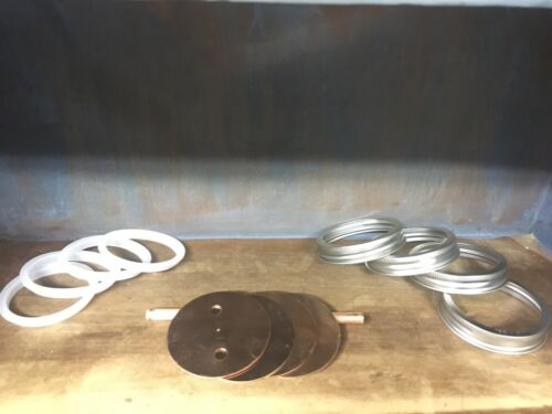 """Seals /& SS Rings W// 3//8"""" Holes 4-Copper Wide Mouth Mason Jar Thumpers Lids"""