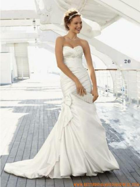 David's Bridal Size 6 Wedding Dress Gown Mermaid Fit N Flare Bow Ivory
