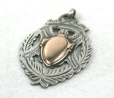 Antique Sterling Silver Watch Albert Fob Medal Pierced Wreath Rose Gold 1912