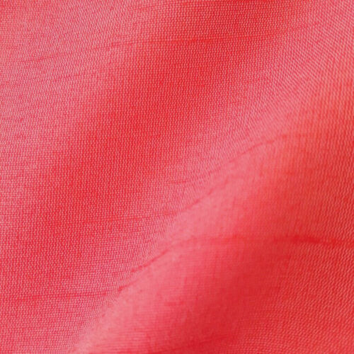"BRIGHT SALMON CORAL FAUX SILK DUPIONI FABRIC 58/"" BY THE YARD DRAPERY DRESS"